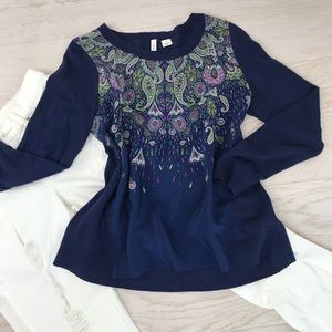 Anthropologie Moth Navy Paisley Silk Front Knit M
